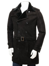 Men's New Warm Winter Black Sheepskin Classic Long Trench Coat QMJ109 - $699.00