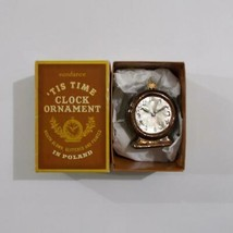Tis Time Clock Glass Christmas Ornament Sundance Mouth Blown Poland 2008 - $29.69