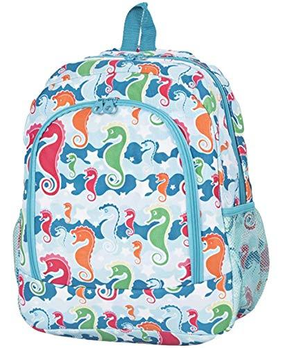 "Nautical Seahorse Print 16"" School Travel Backpack"