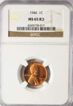 1946 1c Lincoln One Cent Wheat Cent NGC MS 65 RD Brilliant Uncirculated - $22.44