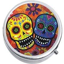 Sugar Skulls Colorful Medicine Vitamin Compact Pill Box - €8,24 EUR
