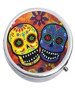 Sugar Skulls Colorful Medicine Vitamin Compact Pill Box - $9.78