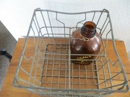 1956 GLEBKE'S GALLON MILK BOTTLE WITH CARRY HANDLE AND MILK CRATE DURAGLASS - $95.00