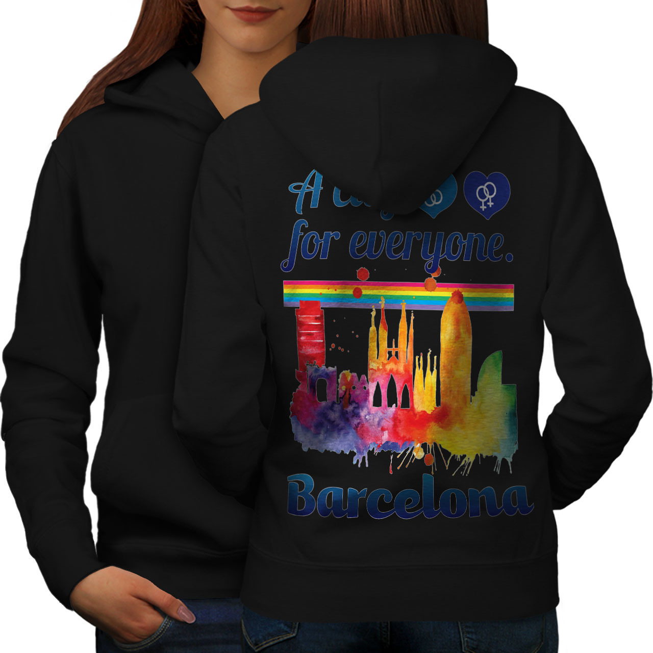 Primary image for Gay Pride Love Barcelona Sweatshirt Hoody Spain City Women Hoodie Back