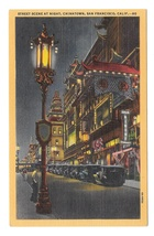 San Francisco CA Chinatown at Night Vintage American Express Ad Linen Po... - $4.99