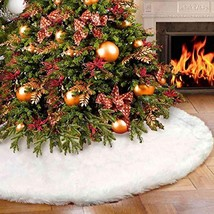 Vlovelife Christmas Tree Skirt, 30 Inches Pure White Faux Fur Tree Skirt... - $14.66
