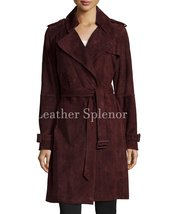 Trendy Women Suede Leather Trench Coat