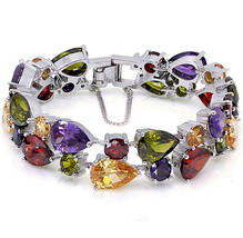 Ladies Bracelets Vintage Style Dual Layer Tear Drop Multicolor Amethyst ... - $86.35