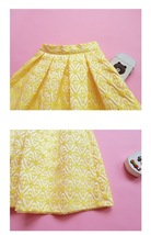 Lady Yellow Midi Party Skirt Spring Plus Size Full Pleated Skirt w. Wing Pattern image 5
