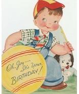 Vintage Birthday Card Boy Plays Ball Terrier Dog 1940s Unused Die Cut - $9.89