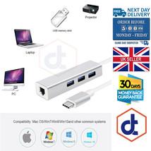 3 Port USB 3.0 Gigabit Ethernet Lan RJ45 Network Adapter Hub to 1000Mbps... - $18.58
