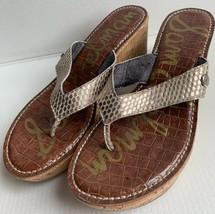 SAM EDELMAN Women's Gold Beige Thong Cork Wedge Sandal Heel Shoe SZ 9 - $19.79