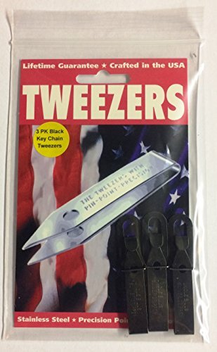 3 Pack Black Oxide Uncle Bill's Sliver Gripper Precision Key Chain Tweezers