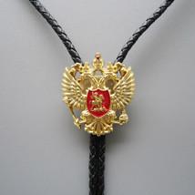 Original Antique Gold Russian Double Headed Empire Eagle Rhinestone Bolo... - $15.62