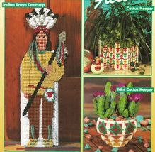 Plastic Canvas Southwest Native Brave Doorstop Arrow Tissue Cover Cactus... - $13.99