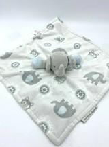 Blankets & Beyond Gray Blue White Elephant Owl Baby Security Blanket Nunu - $14.99