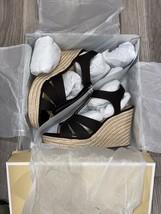 Michael Kors Berkley Weave  Espadrille Wedge Sandals Black Size 8 New - $52.99