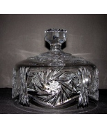 Vintage Crystal Covered Cheese/Butter Dish American Brilliant  - $30.99