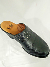 Sofft Womens 6M Studded Black Leather Mules Clogs Slip On Shoe - $14.26