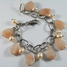 .925 RHODIUM SILVER BRACELET WITH  PINK JADE AND ROSE PEARLS image 1