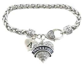 Custom Track & Field Heart Silver Bracelet Jewelry Choose Family Initial Charms - $14.87
