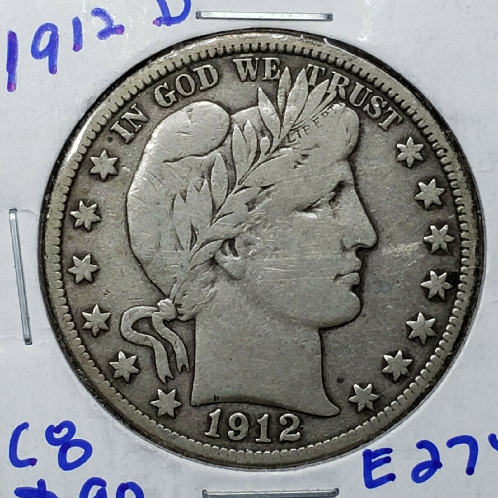 1912D Silver Barber Half Dollar Coin Lot A 185