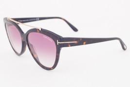 Tom Ford LIVIA-02 Havana / Violet Gradient Sunglasses TF518 52Z LIVIA - $185.22