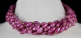 PINK RUBY BEADS CABOCHON 9 LINE 780 CARATS GEMSTONE 18K GOLD LADIES NECKLACE image 4