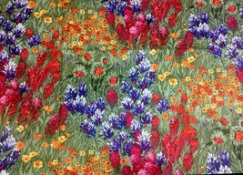 "Multi Flowers Landscape Fabric Michael Miller CX0400 44"" W X 38"" Very Clean - $227,92 MXN"