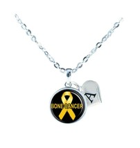 Custom Bone Cancer Awareness Silver Yellow Necklace Jewelry Initial Family Charm - $13.94