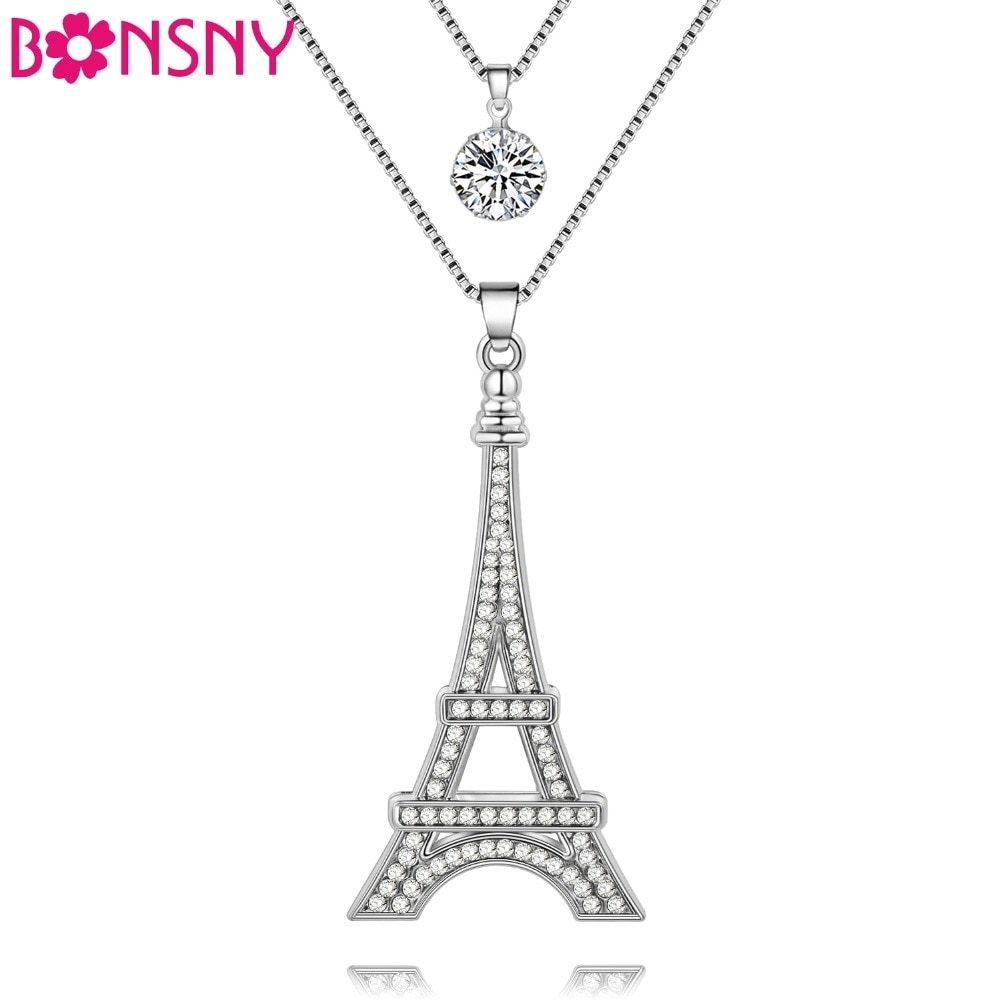 Chain 2017 New Colorful Crystal Eiffel Tower Building necklace Lock Pendant Allo