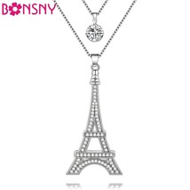 Chain 2017 New Colorful Crystal Eiffel Tower Building necklace Lock Pend... - $12.99
