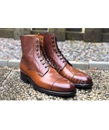 New Men's Handmade Brown Leather Derby Dress Boots For Men - $179.99+