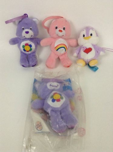 "2005 Care Bears LOT  3"" Key Chains Stuffed Plush Toy Cheer Share Bear Cozy Heart"