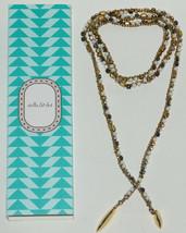 """Stella & Dot 42"""" Zoe Lariat Bead Necklace Hematite Gold Color Chain in Box - $40.63"""