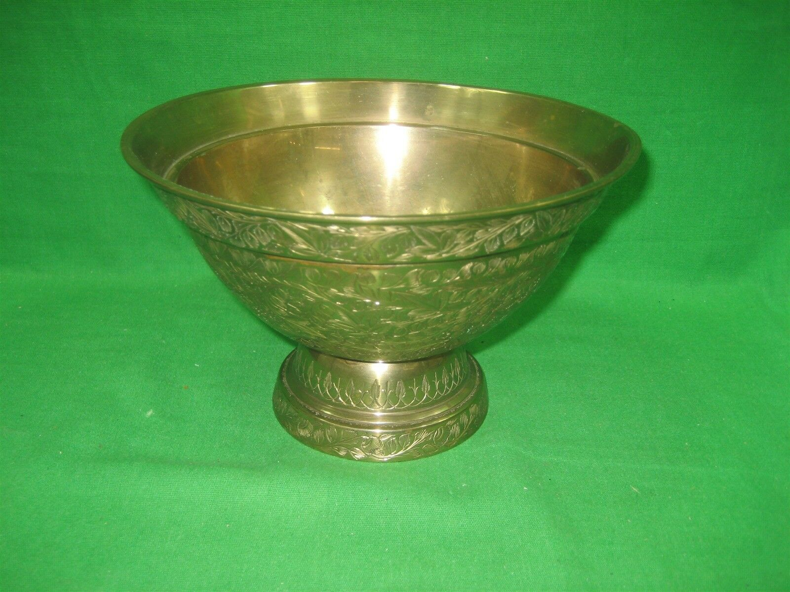 """Vintage Brass Etched Bowl Centerpiece on Pedestal Made In India Ornate 5"""" Tall"""