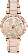 Michael Kors MK6176 Parker Rose Gold Blush Pave Crystal Logo Women's Watch - $104.90