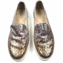 Stuart Weitzman Biarritz Glitter Ombre Skate Slip on Sneakers Gold Silver Sz 6.5 - $56.05