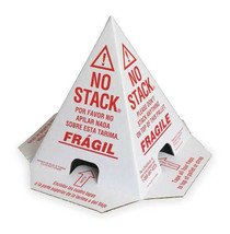 100 No Stack Pallet Cones 8 x 8 x 10 White/Red : English,Spanish, French - $162.89