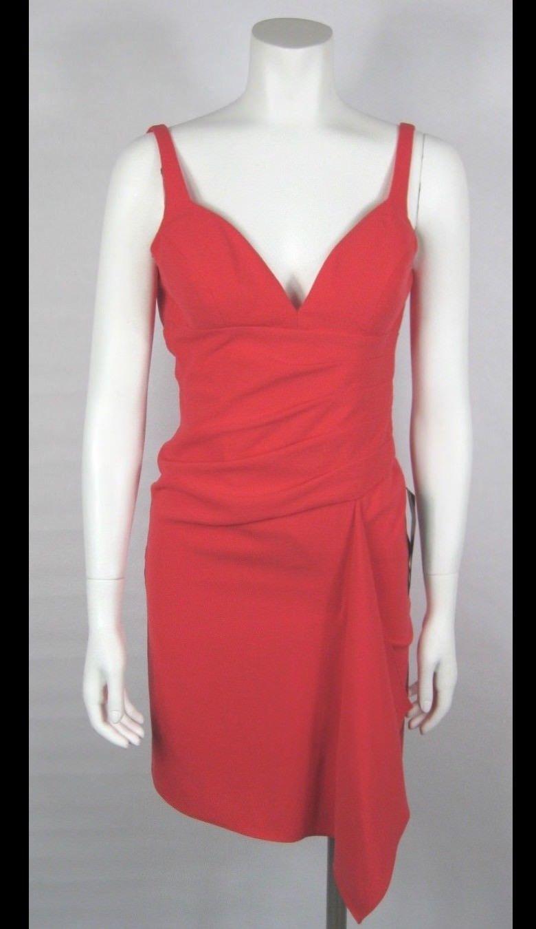 BCBG MAX AZRIA Red Dress Yazmin Draped Crepe Dress, Red Berry Sz 0 Retail $268