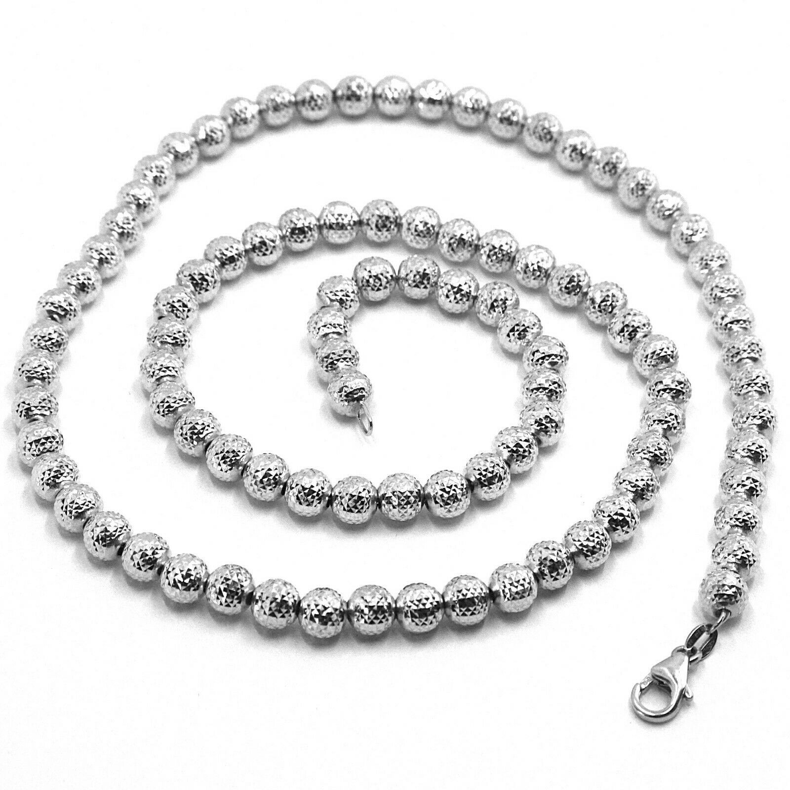 "18K WHITE GOLD CHAIN FINELY WORKED SPHERES 5 MM DIAMOND CUT, FACETED 16"", 40 CM"