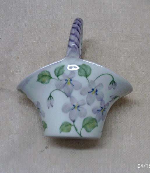 Vintage Andrea By Sadek Violet Flower Design Porcelain Basket // Purple Flowers