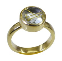 pleasing Rutile Quartz CZ Gold Plated Multi Ring genuine generally US gift - $24.99
