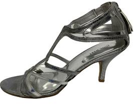 Nine West Knoll Femmes Chaussures Soirée Argent Métallique Zip Arrière Size 10M - $15.81