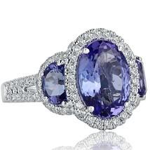 4.60 TCW Oval Cut Tanzanite Half Moon Side Diamond Engagement Ring 14k White Gol - $2,810.61