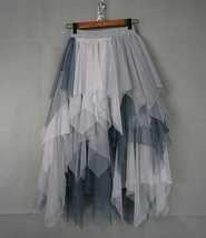Women's Sweet High Waist Hi-lo Tiered Tulle Layered Ruffle Mesh Long Tier Skirt image 11
