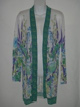 Chicos Size 1 8-10 Summer Open Front Cardigan Sweater Sheer Floral Orchid - $32.50