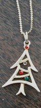 Pretty Gold Tone Christmas Tree Pendant, With Gold Tone Chain, Red/Green Stones - $7.91