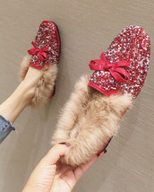 Sequin Red Ladies Wedding Ballet Flats Shoe Slippers Outdoor Cotton-Padd... - £37.03 GBP