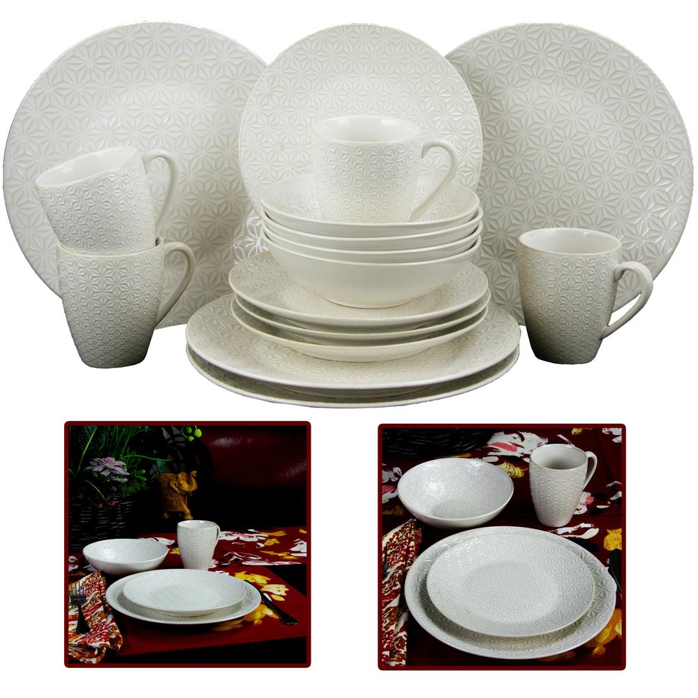 Elama Ivory Terrace 16 Piece Textured Dinnerware Set